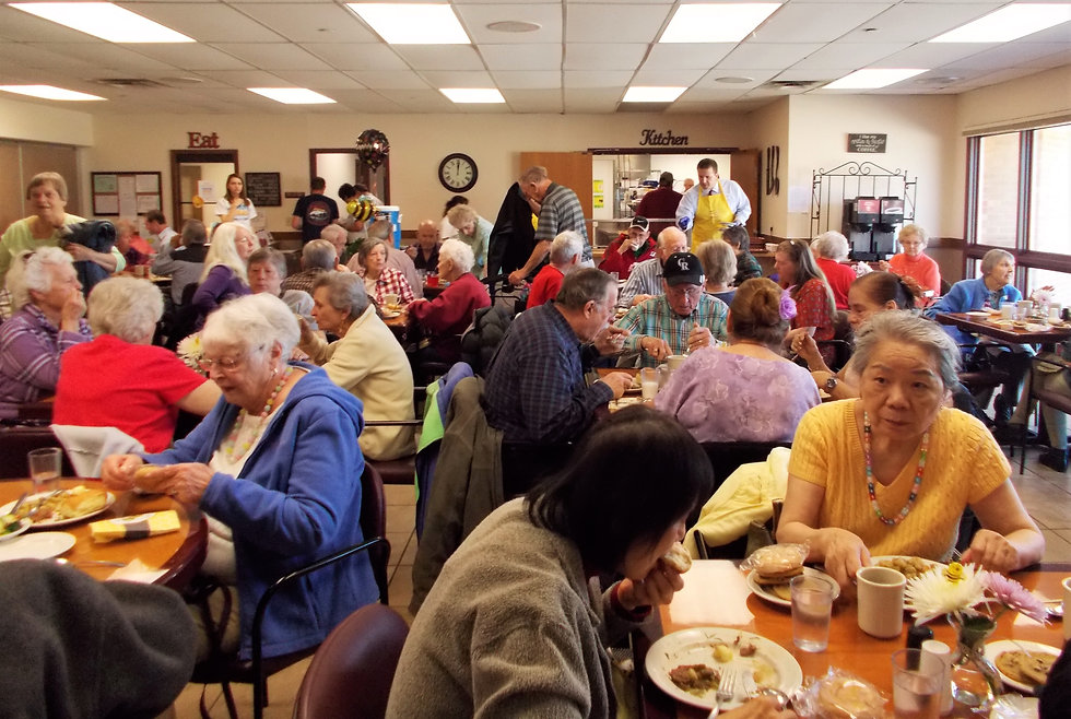 a lunch party at the Longmont Senior Center