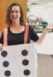 Katie Wiser Communications Longmont Meals on Wheels dice costume