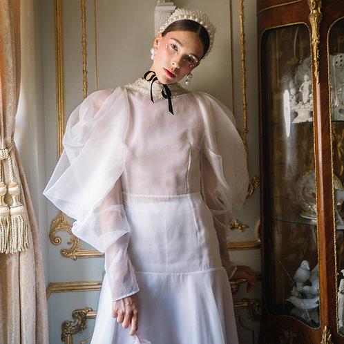 Long white organza dress