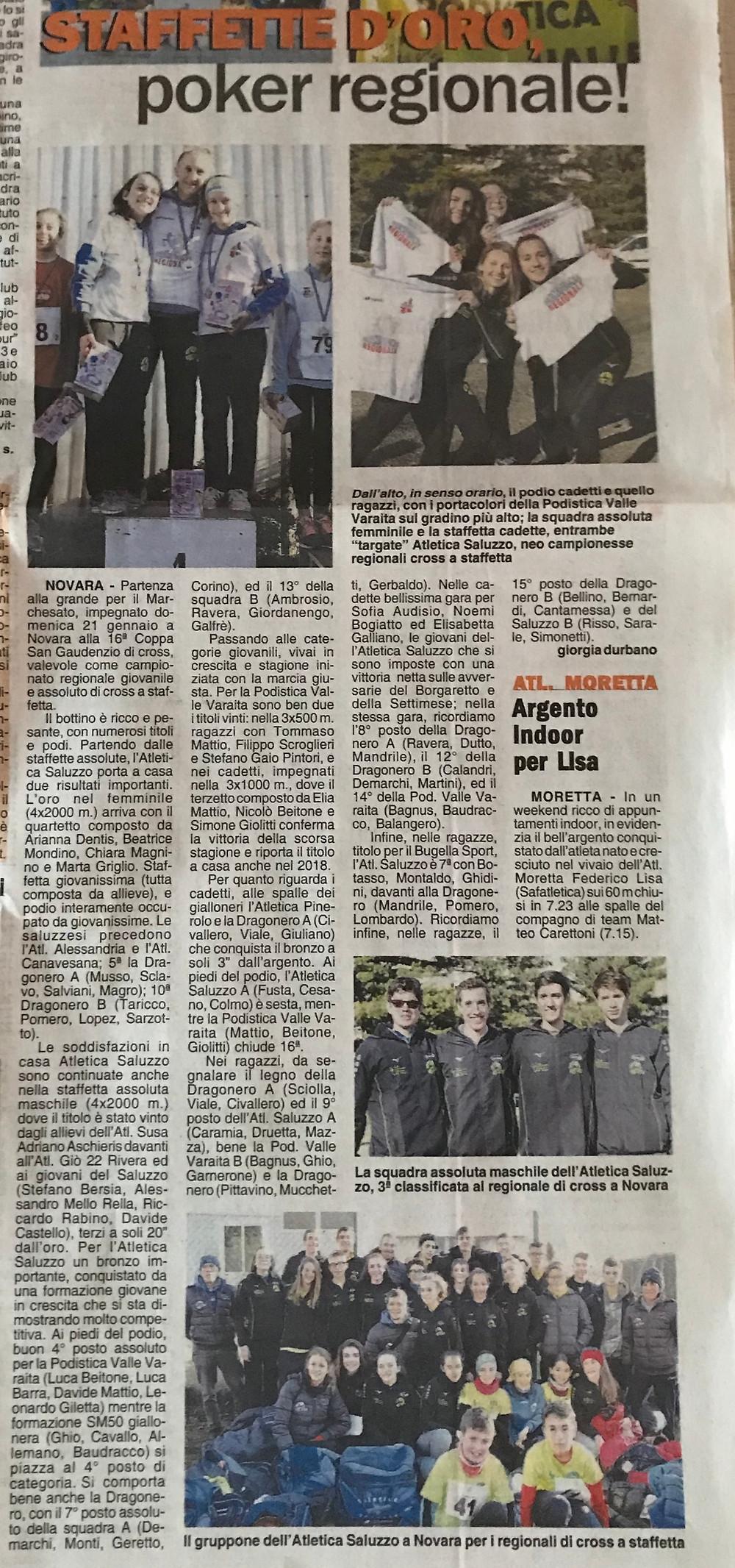 Articolo su Corriere di Saluzzo