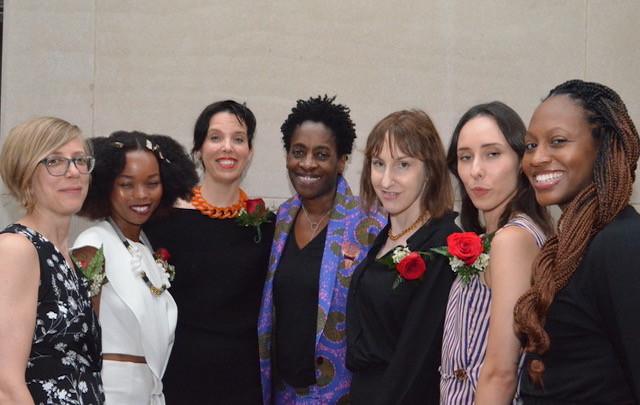 L-R: Debbie Urbanski, Magogodi oaMphela Makhene, Sarah Passino, guest speaker Jacqueline Woodson, Elizabeth Schambelan, Nicolette Polek, and Selena Anderson. Photo by Star Black.