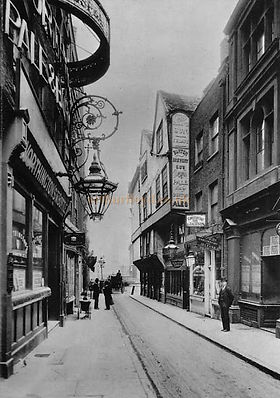 Holywell St and Wych St, 1901; GM lived