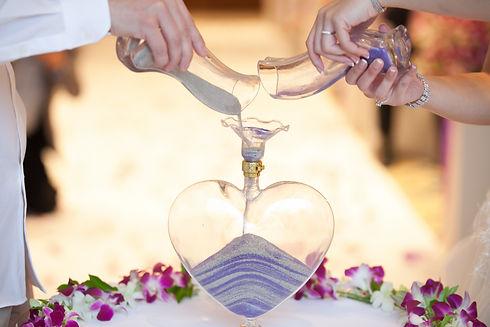 Blending of the sands at wedding ceremon
