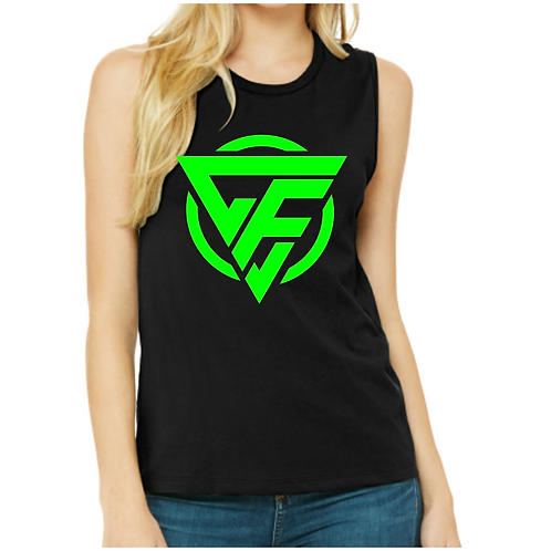 Ladies Muscle Tank - GREEN Logo