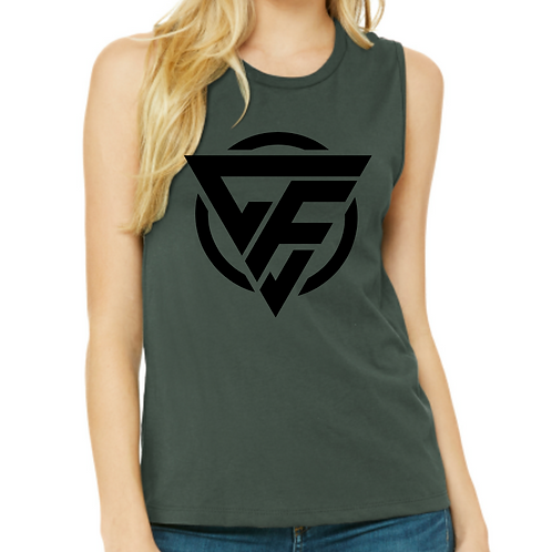 Ladies Muscle Tank - BLACK Logo