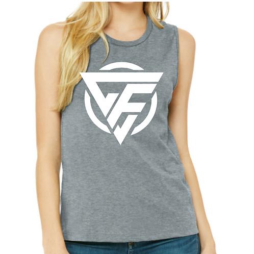 Ladies Muscle Tank - WHITE Logo