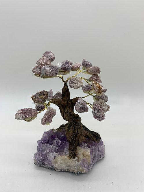 Lepidolite & Amethyst (base) Gemstone Tree
