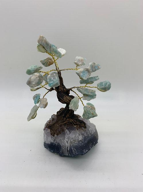 Amazonite & Amethyst (base) Gemstone Tree