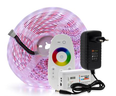 Светодиодная лента SMD5050 RGBW/5 м/ + сенсорный радиопульт 2,4G + адаптер
