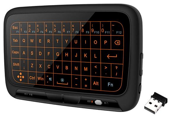 Беспроводная сенсорная клавиатура с подсветкой H18 Plus, air mouse. 2,4 ГГц