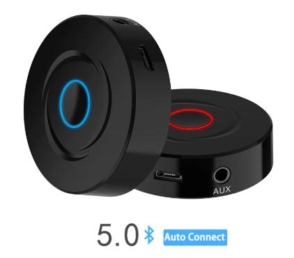 Портативный Bluetooth 5.0 адаптер (прием/передача), A2DP, AVRCP, AUX, 280 мАч