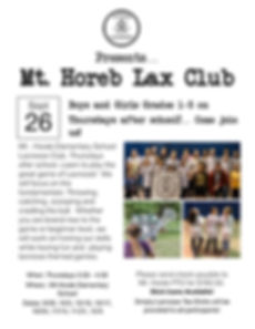Simply Lax Mt Horeb Club Fall 2019 Flyer