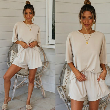 Two Piece Set Top and Shorts Set.  Perfect for lounging
