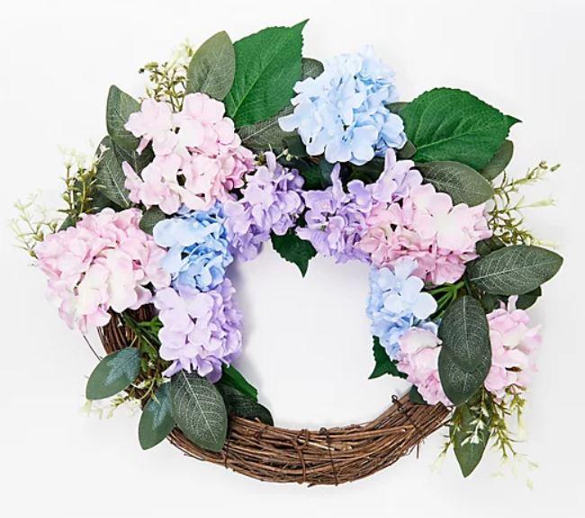 """Wicker Park 24"""" Faux Floral Indoor/Outdoor Hydrangea Half Wreath"""