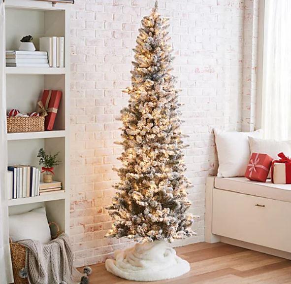 Bethlehem Lights 9' Slim Flocked Spruce Tree