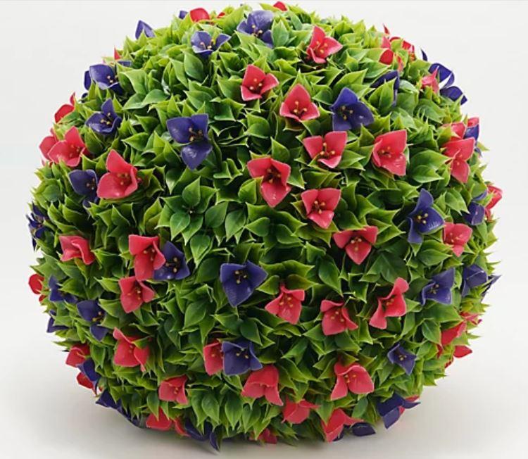 """Wicker Park 21"""" Flowering Bougainvillea Garden Sphere"""