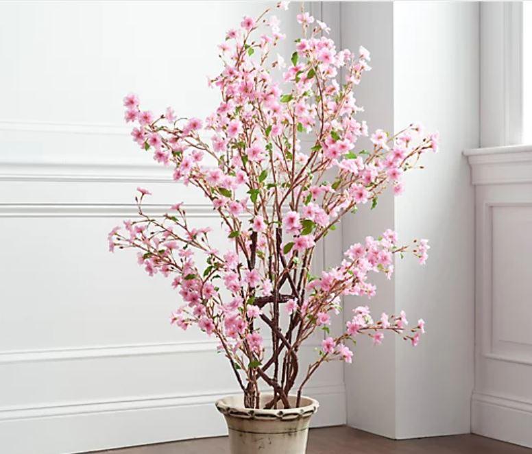 Wicker Park Indoor/Outdoor 4' Faux Cherry Blossom Sapling Bush