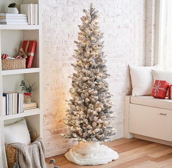 Bethlehem Lights 6.5' Slim Flocked Spruce Tree