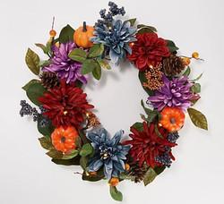 "Bethlehem Lights 22"" Lit Pumpkin Dahlia and Mum Wreath"