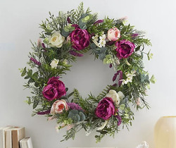 "Wicker Park Indoor/Outdoor 24"" Faux Peony and Tea Blossom Wreath"