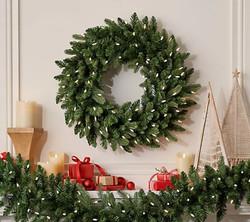 "Bethlehem Lights 26"" Green Color Flip Overlit Wreath"