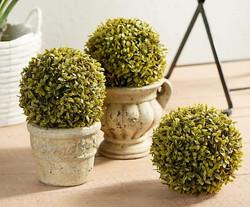 Wicker Park Set of 3 Indoor/Outdoor Faux Mini Boxwood Spheres