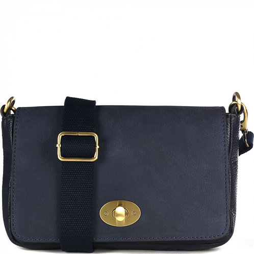 NEW DEEDEE - SAC BANDOULIÈRE EN CUIR NUBUCK FERMOIR TOURNIQUET