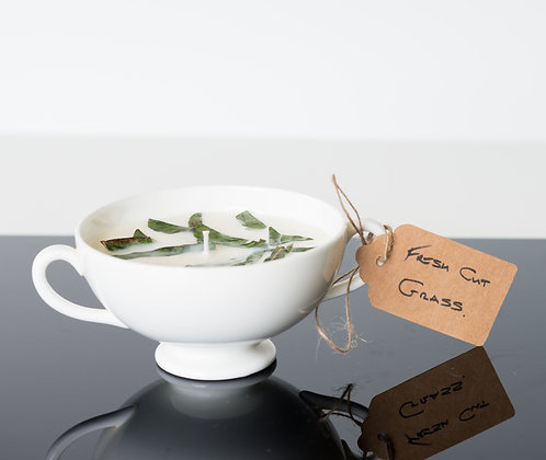 Fresh Cut Grass in a double handled cup