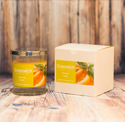 Citrus Basil Candle in White Gloss Glass 200ml