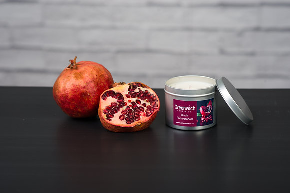 Black Pomegranate Candle in Silver Tin 225ml