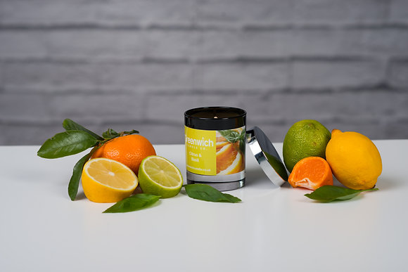 Citrus Basil Candle in Black Gloss Glass 300ml