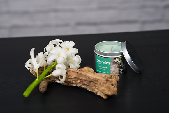 Cedarwood and Jasmine Candle in Silver Tin 125ml