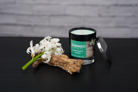 Cedarwood and Jasmine Candle in Black Gloss Glass 200ml