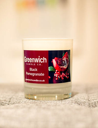 Black Pomegranate Candle in White Gloss Glass 300ml