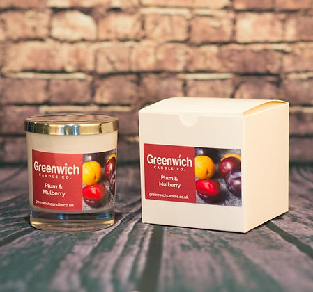 Plum and Mulberry Candle in Black Gloss Glass 300ml