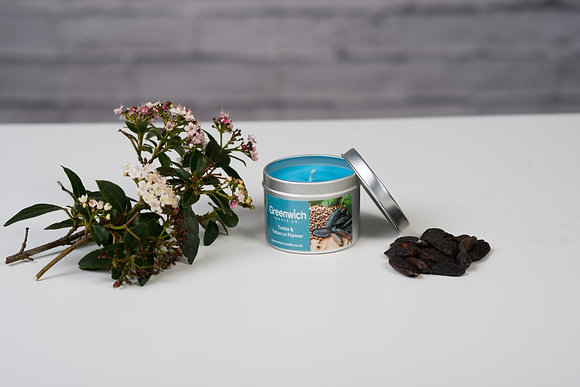 Tonka and Tobacco Flower Candle in Silver Tin 125ml