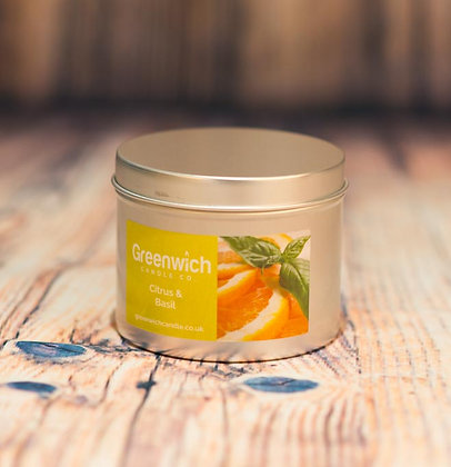 Citrus Basil Candle in Silver Tin 225ml