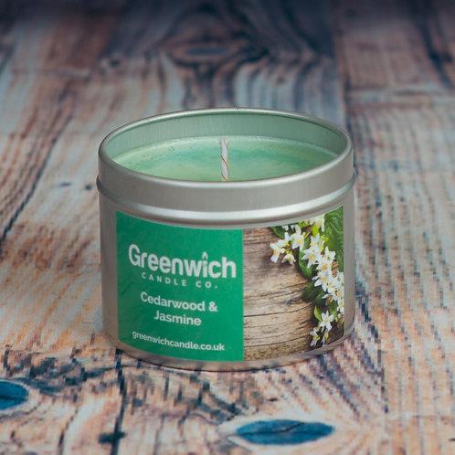 Cedarwood and Jasmine Candle in Silver Tin 125ml