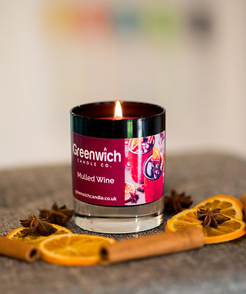 Mulled Wine Candle in Black Gloss Glass 300ml