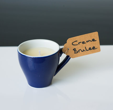 Royal blue coffee cup with Creme Brulee