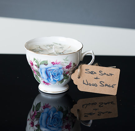 Sea Salt & Wood Sage in a Blue Tea Cup