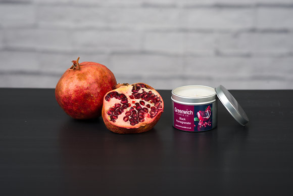 Black Pomegranate Candle in Silver Tin 125ml