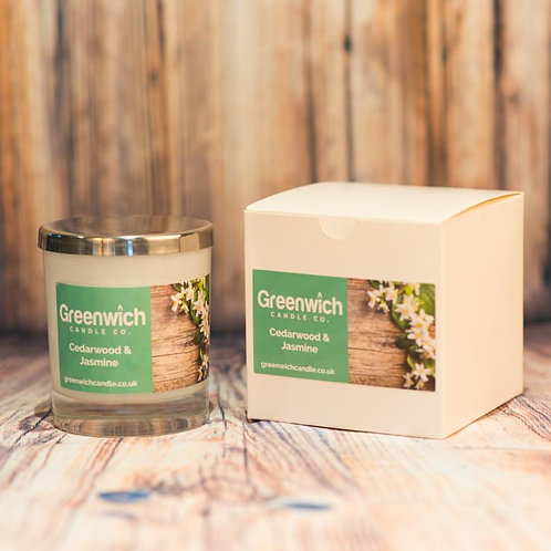 Cedarwood and Jasmine Candle in White Gloss Glass 300ml