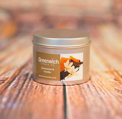 Cinnamon Vanilla Candle in Silver Tin 125ml