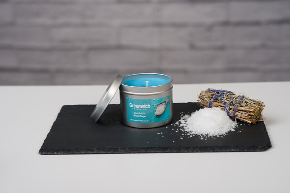 Sea Salt and Sage Candle in Silver Tin 225ml
