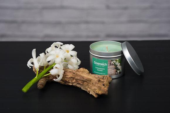 Cedarwood and Jasmine Candle in Silver Tin 225ml