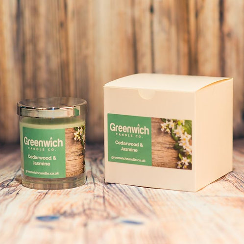 Cedarwood and Jasmine Candle in Clear Glass 200ml