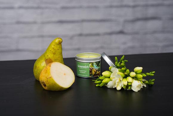 English Pear & Freesia Candle in Silver Tin 125ml