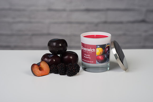 Plum and Mulberry Candle in White Gloss Glass 300ml