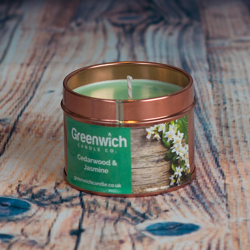 Cedarwood and Jasmine Candle in Rose Gold Tin 100ml